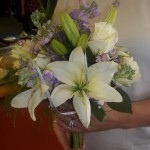 Airy hand-tied bridal bouquet with a garden feel.