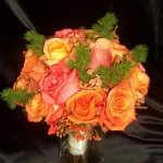 Orange and Coral Roses.