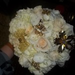 Vintage baubles add bling to this lush bouquet.
