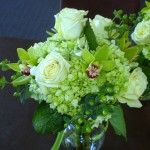 Jade roses, green hydrangea mini green cymbidium orchids.