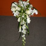 Always elegant all white cascading bouquet.