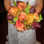 Hand tied bouquet full of texture and fall shades.