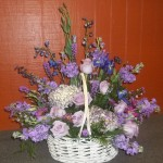 A basket arrangement for the family to take home a lavender mix.
