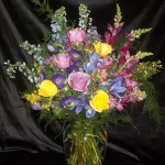 Vase arrangement for a cremation service.  A beautiful mix for the family to enjoy.