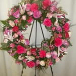 all pink mixed flower wreath.