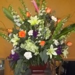 Floral arrangement for table or pedestal setting.
