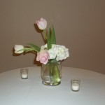 Hydrangea support draping tulips in this short vase. Simple to put together and small enough for any nook in your home.