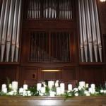 Scarritt Bennett's Wightman Chapel altar with organ pipes.