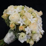 sparkling stephanotis and roses.