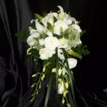 All white cascading bouquet