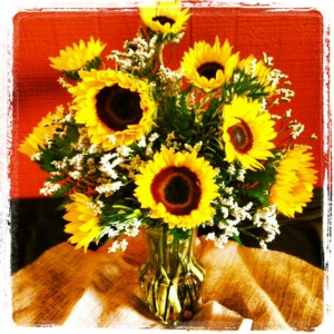 vased bouquet of sunflowers