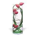Modern design vase of pink French Tulips