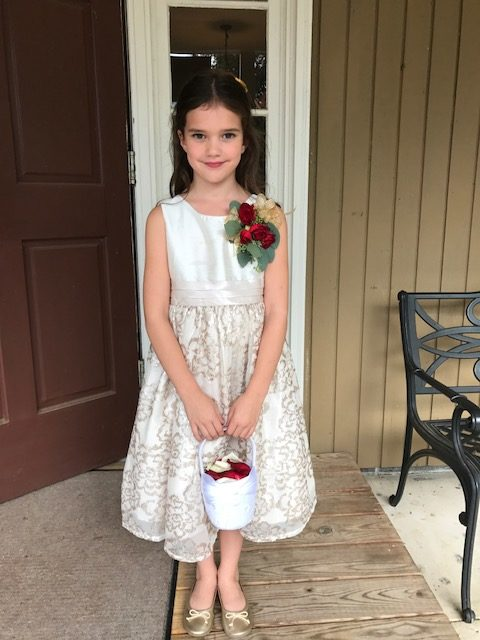 ef314d6b0 A pin on corsage is a perfect perfect way to keep the hands free for a  flower girl's petal duty.